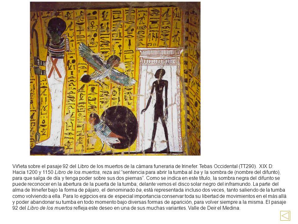 Viñeta sobre el pasaje 92 del Libro de los muertos de la cámara funeraria de Irinefer.