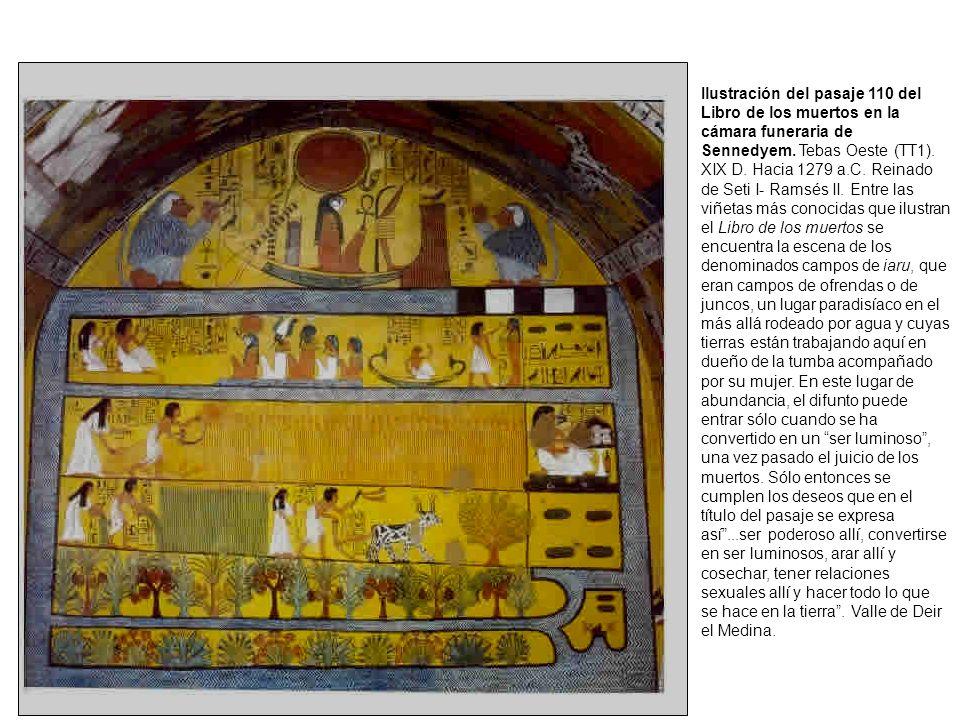 Ilustración del pasaje 110 del Libro de los muertos en la cámara funeraria de Sennedyem.