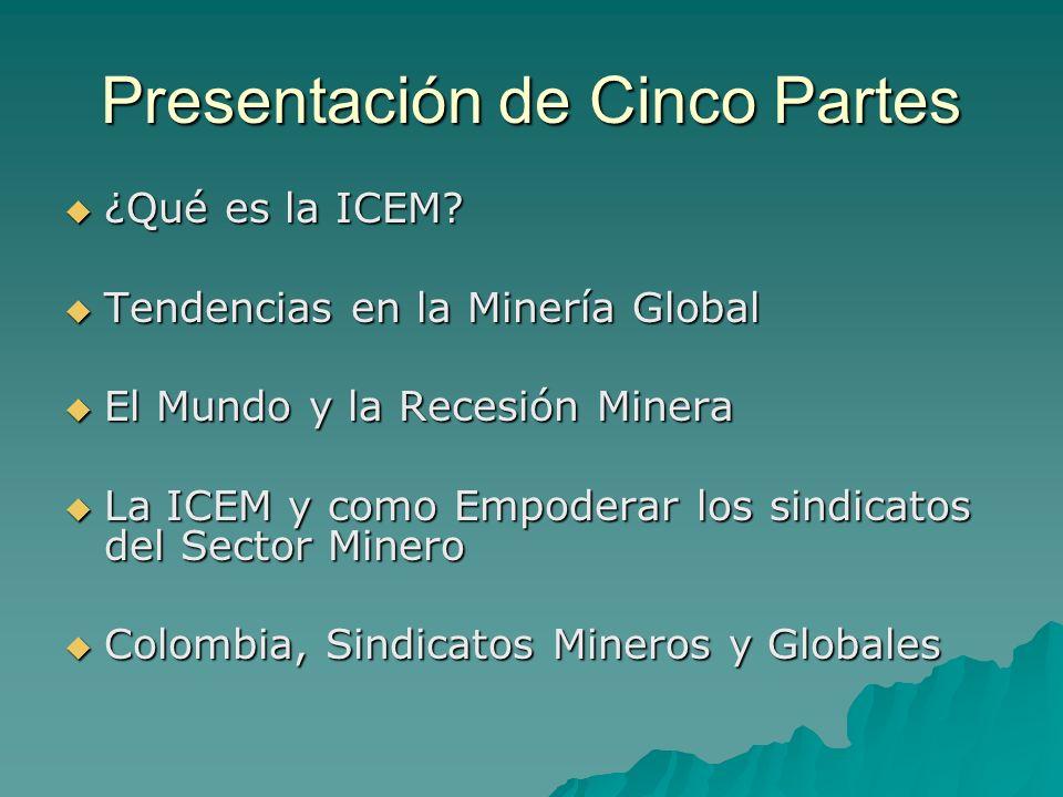 Presentación de Cinco Partes ¿Qué es la ICEM? ¿Qué es la ICEM? Tendencias en la Minería Global Tendencias en la Minería Global El Mundo y la Recesión