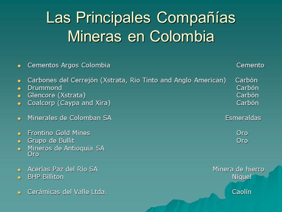 Las Principales Compañías Mineras en Colombia Cementos Argos Colombia Cemento Cementos Argos Colombia Cemento Carbones del Cerrejón (Xstrata, Rio Tint