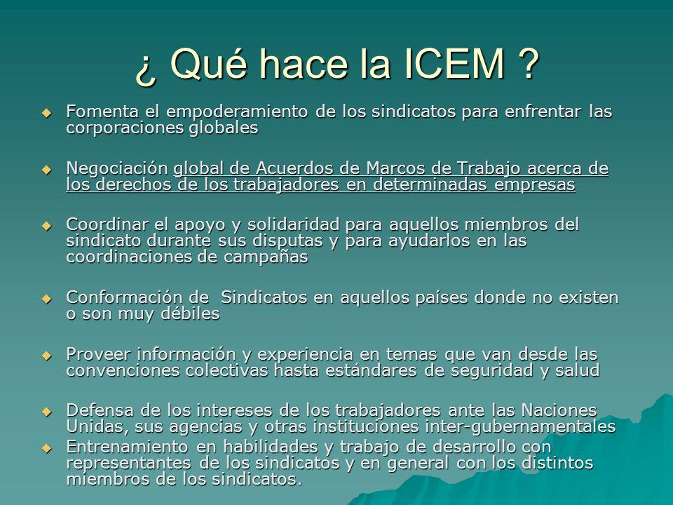 ¿ Qué hace la ICEM ? Fomenta el empoderamiento de los sindicatos para enfrentar las corporaciones globales Fomenta el empoderamiento de los sindicatos