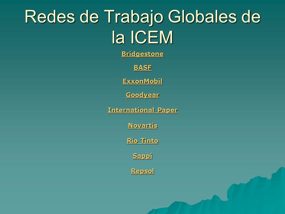 Redes de Trabajo Globales de la ICEM Bridgestone BASF ExxonMobil Goodyear International Paper International Paper Novartis Rio Tinto Rio Tinto Sappi R
