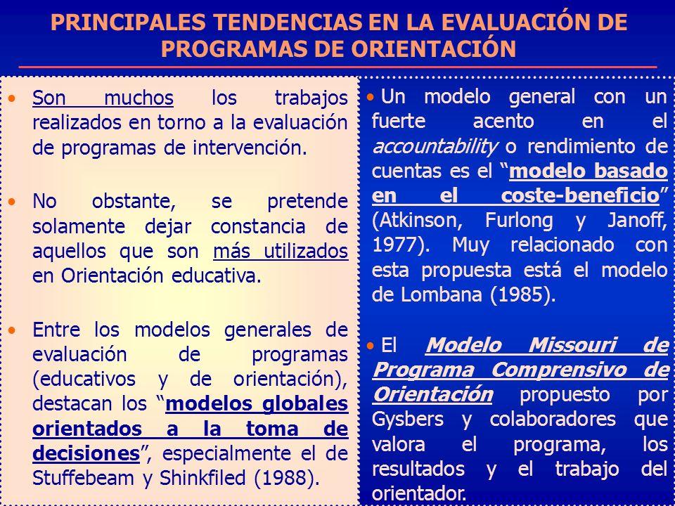 PRINCIPALES TENDENCIAS EN LA EVALUACIÓN DE PROGRAMAS DE ORIENTACIÓN Son muchos los trabajos realizados en torno a la evaluación de programas de interv