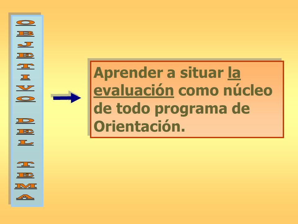 Aprender a situar la evaluación como núcleo de todo programa de Orientación.