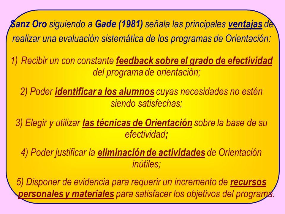 Sanz Oro siguiendo a Gade (1981) señala las principales ventajas de realizar una evaluación sistemática de los programas de Orientación : 1)Recibir un