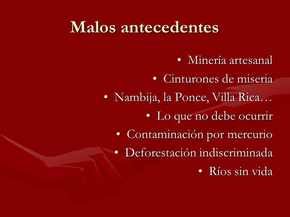 Malos antecedentes Minería artesanalMinería artesanal Cinturones de miseriaCinturones de miseria Nambija, la Ponce, Villa Rica…Nambija, la Ponce, Vill