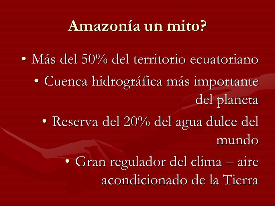 Amazonía un mito? Más del 50% del territorio ecuatorianoMás del 50% del territorio ecuatoriano Cuenca hidrográfica más importante del planetaCuenca hi