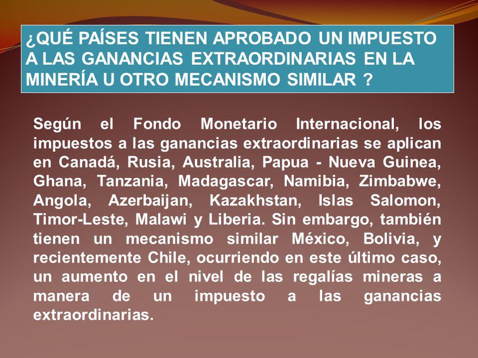 Según el Fondo Monetario Internacional, los impuestos a las ganancias extraordinarias se aplican en Canadá, Rusia, Australia, Papua - Nueva Guinea, Gh