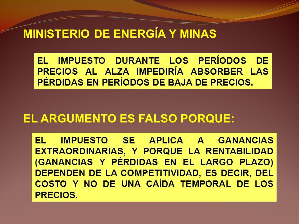 MINISTERIO DE ENERGÍA Y MINAS EL IMPUESTO DURANTE LOS PERÍODOS DE PRECIOS AL ALZA IMPEDIRÍA ABSORBER LAS PÉRDIDAS EN PERÍODOS DE BAJA DE PRECIOS. EL A