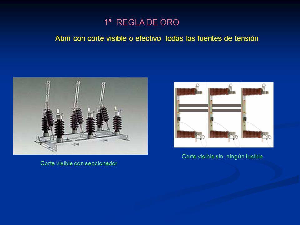 1ª REGLA DE ORO Abrir con corte visible o efectivo todas las fuentes de tensión Corte visible con seccionador Corte visible sin ningún fusible