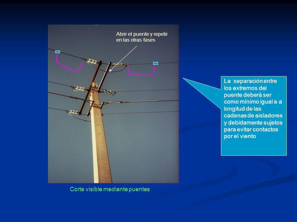Corte visible mediante puentes Abrir el puente y repetir en las otras fases La separación entre los extremos del puente deberá ser como mínimo igual a a longitud de las cadenas de aisladores y debidamente sujetos para evitar contactos por el viento