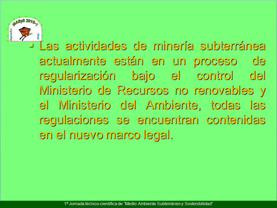Las actividades de minería subterránea actualmente están en un proceso de regularización bajo el control del Ministerio de Recursos no renovables y el