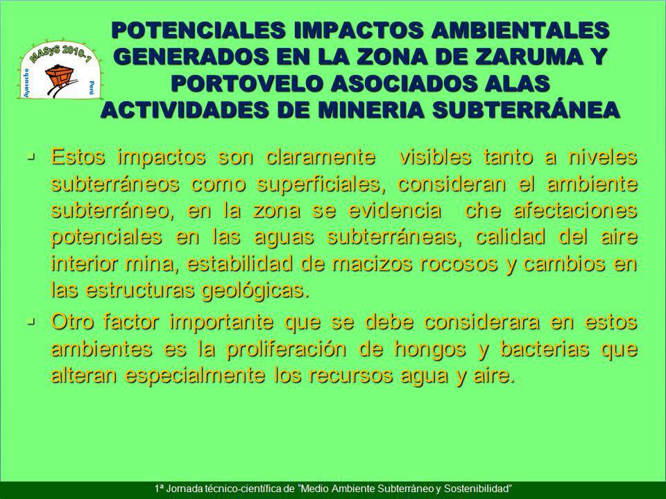 POTENCIALES IMPACTOS AMBIENTALES GENERADOS EN LA ZONA DE ZARUMA Y PORTOVELO ASOCIADOS ALAS ACTIVIDADES DE MINERIA SUBTERRÁNEA Estos impactos son clara