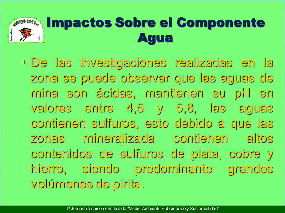 Impactos Sobre el Componente Agua De las investigaciones realizadas en la zona se puede observar que las aguas de mina son ácidas, mantienen su pH en