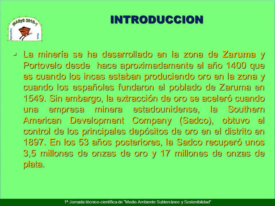 INTRODUCCION 1ª Jornada técnico-científica de Medio Ambiente Subterráneo y Sostenibilidad La minería se ha desarrollado en la zona de Zaruma y Portove