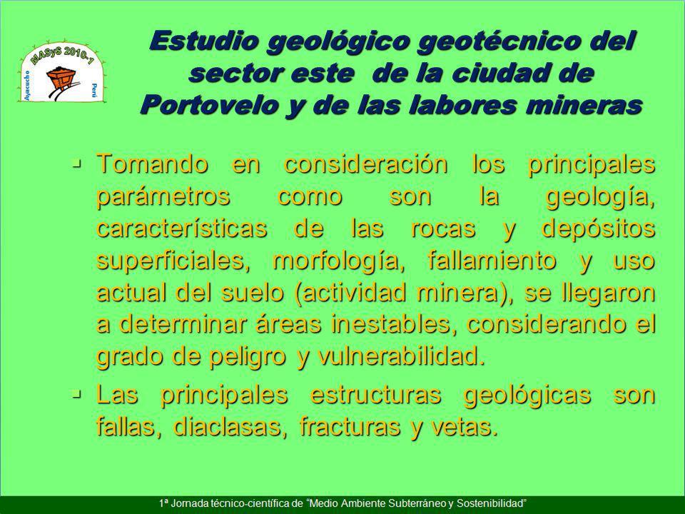Estudio geológico geotécnico del sector este de la ciudad de Portovelo y de las labores mineras Tomando en consideración los principales parámetros co