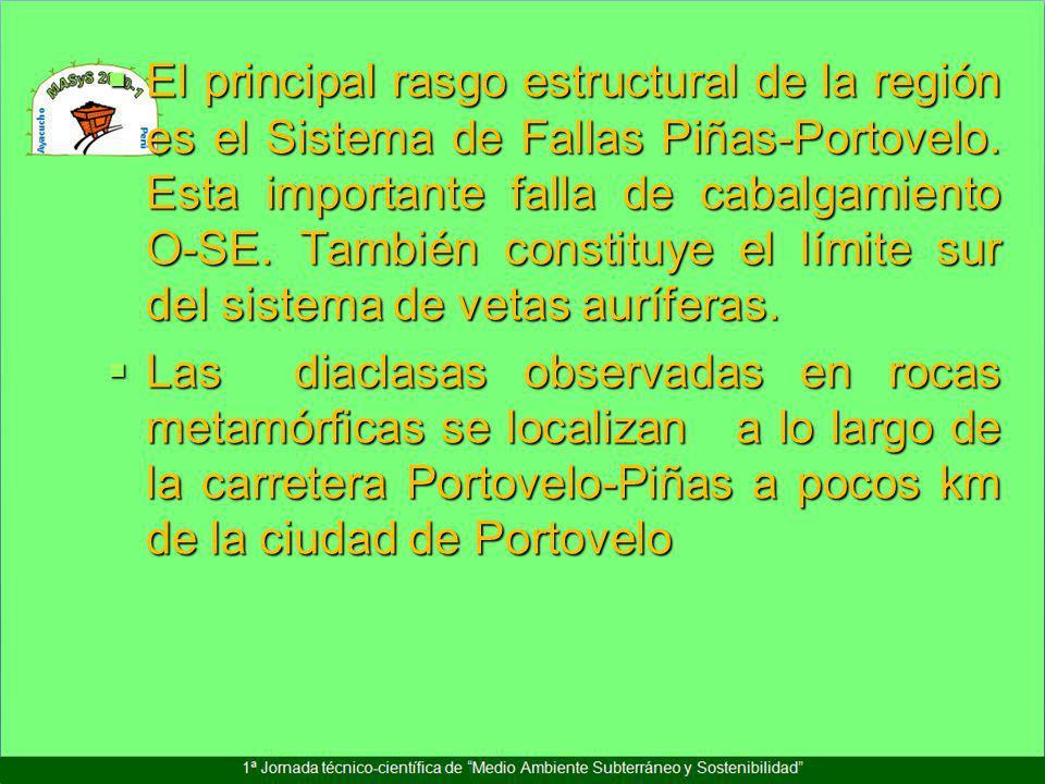 El principal rasgo estructural de la región es el Sistema de Fallas Piñas-Portovelo. Esta importante falla de cabalgamiento O-SE. También constituye e