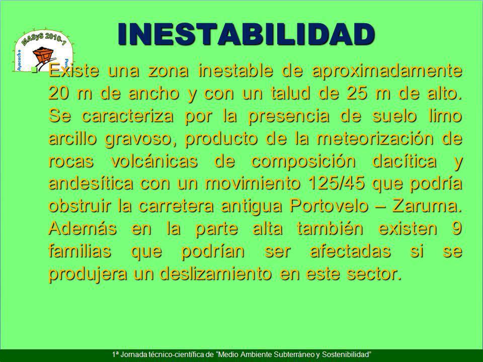 INESTABILIDAD Existe una zona inestable de aproximadamente 20 m de ancho y con un talud de 25 m de alto. Se caracteriza por la presencia de suelo limo