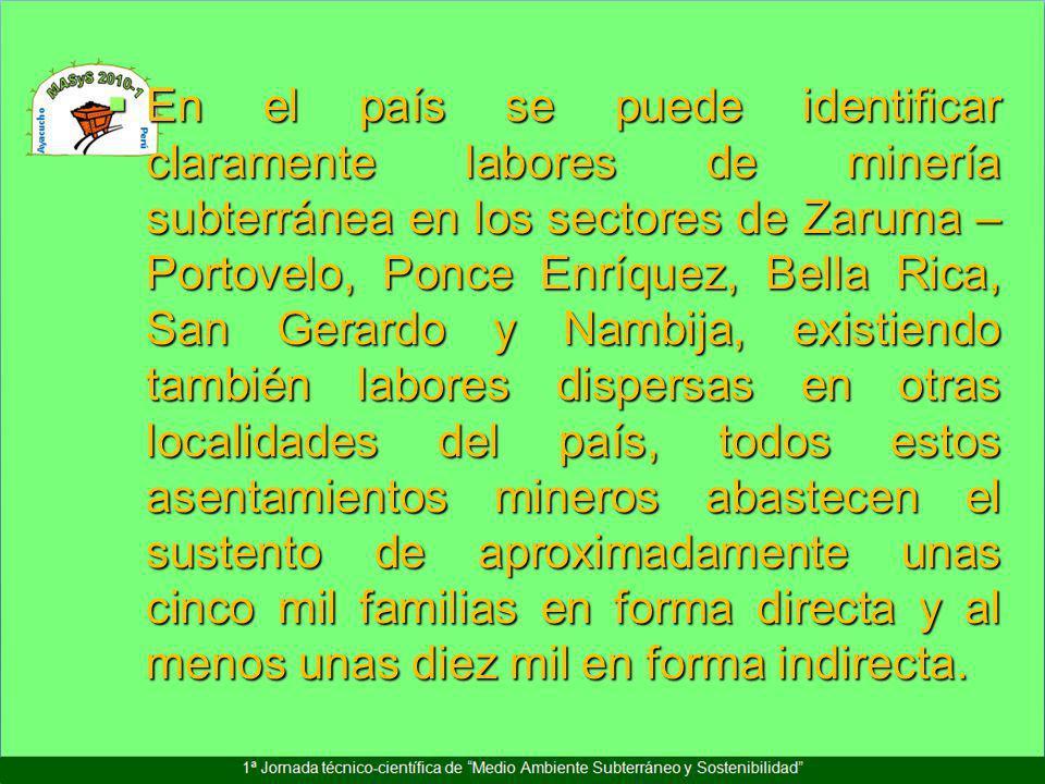 En el país se puede identificar claramente labores de minería subterránea en los sectores de Zaruma – Portovelo, Ponce Enríquez, Bella Rica, San Gerar