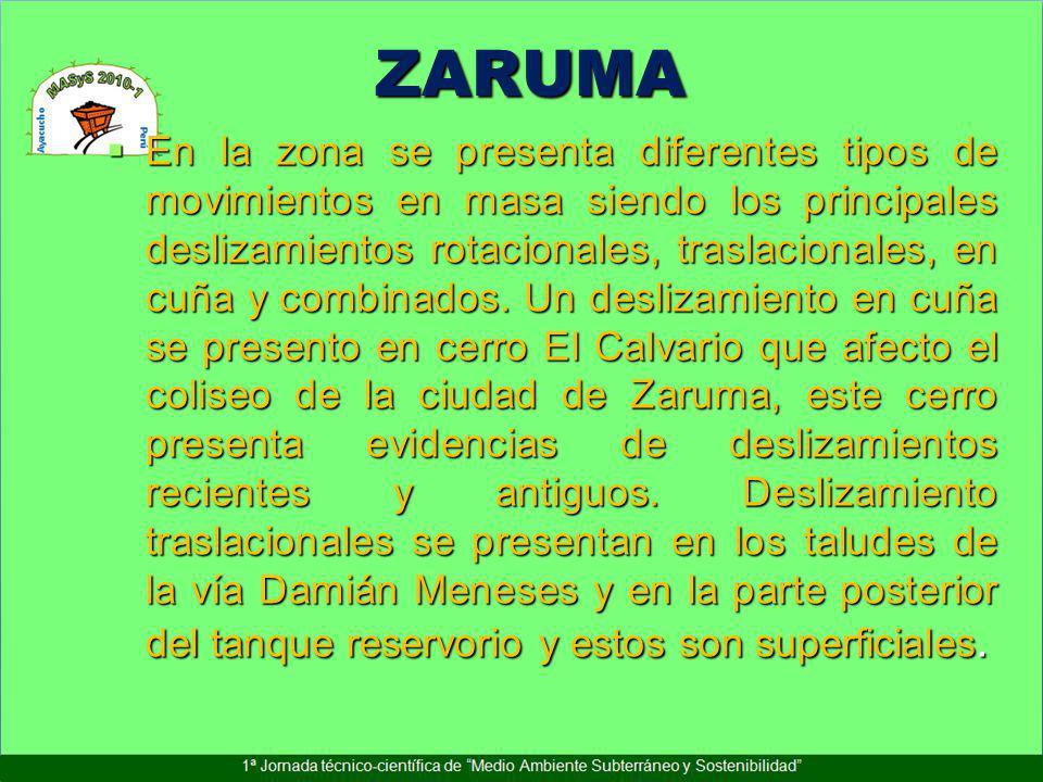 ZARUMA En la zona se presenta diferentes tipos de movimientos en masa siendo los principales deslizamientos rotacionales, traslacionales, en cuña y co
