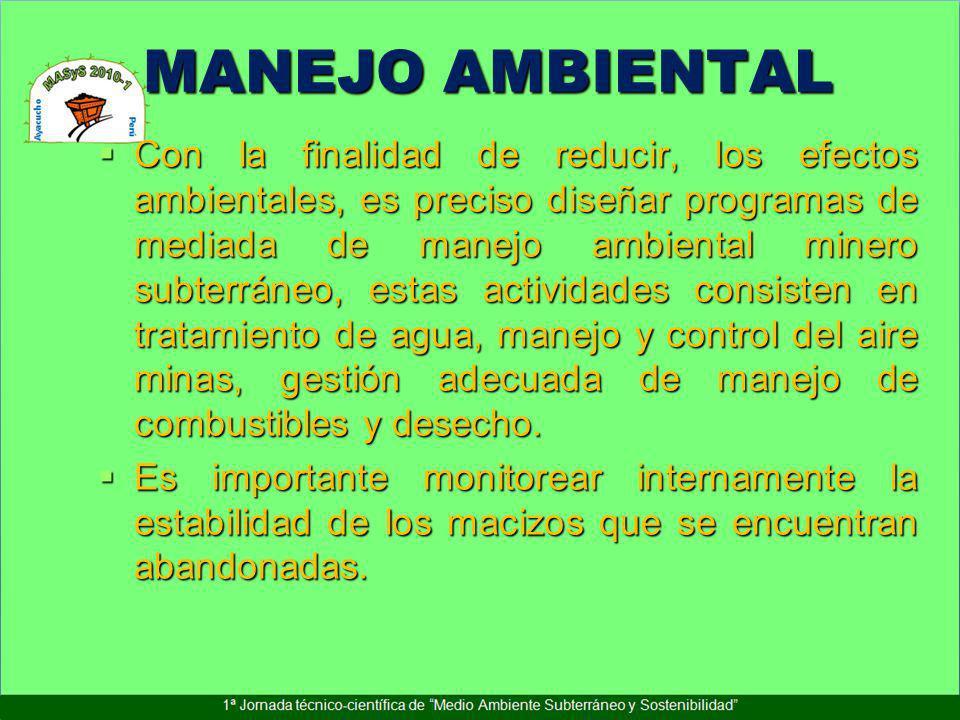 MANEJO AMBIENTAL Con la finalidad de reducir, los efectos ambientales, es preciso diseñar programas de mediada de manejo ambiental minero subterráneo,