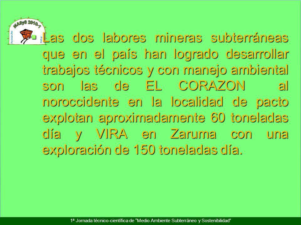 1ª Jornada técnico-científica de Medio Ambiente Subterráneo y Sostenibilidad Las dos labores mineras subterráneas que en el país han logrado desarroll