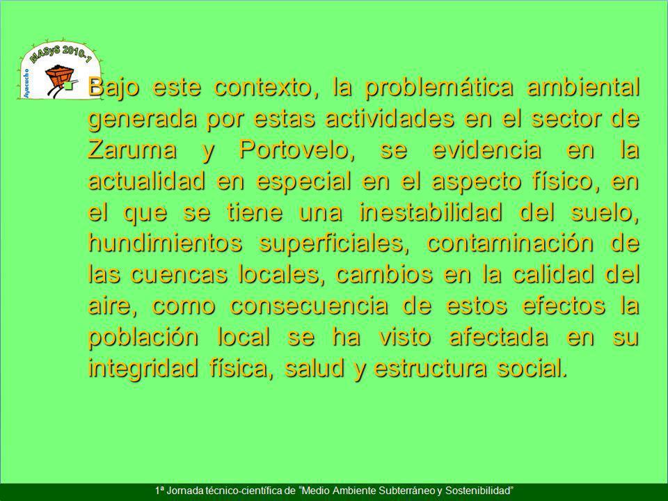 Bajo este contexto, la problemática ambiental generada por estas actividades en el sector de Zaruma y Portovelo, se evidencia en la actualidad en espe