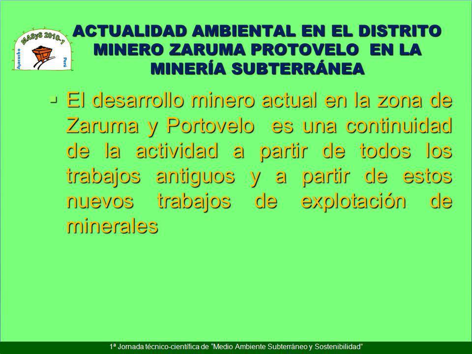 ACTUALIDAD AMBIENTAL EN EL DISTRITO MINERO ZARUMA PROTOVELO EN LA MINERÍA SUBTERRÁNEA El desarrollo minero actual en la zona de Zaruma y Portovelo es