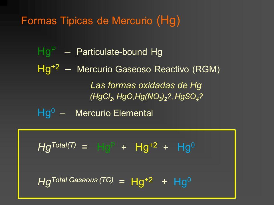 Formas Tipicas de Mercurio (Hg) Hg P – Particulate-bound Hg Hg +2 – Mercurio Gaseoso Reactivo (RGM) Las formas oxidadas de Hg (HgCl 2, HgO,Hg(NO 3 ) 2