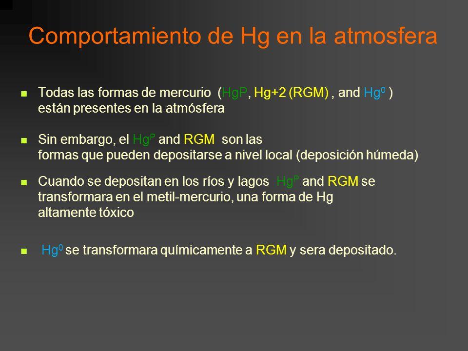 Comportamiento de Hg en la atmosfera Todas las formas de mercurio (HgP, Hg+2 (RGM), and Hg 0 ) están presentes en la atmósfera Sin embargo, el Hg P an