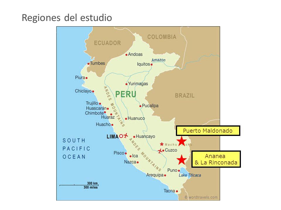 Puerto Maldonado Regiones del estudio Ananea & La Rinconada