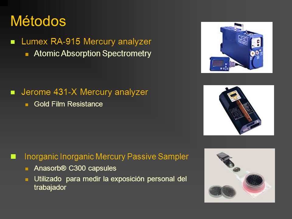 Métodos Lumex RA-915 Mercury analyzer Atomic Absorption Spectrometry Jerome 431-X Mercury analyzer Gold Film Resistance Inorganic Inorganic Mercury Pa