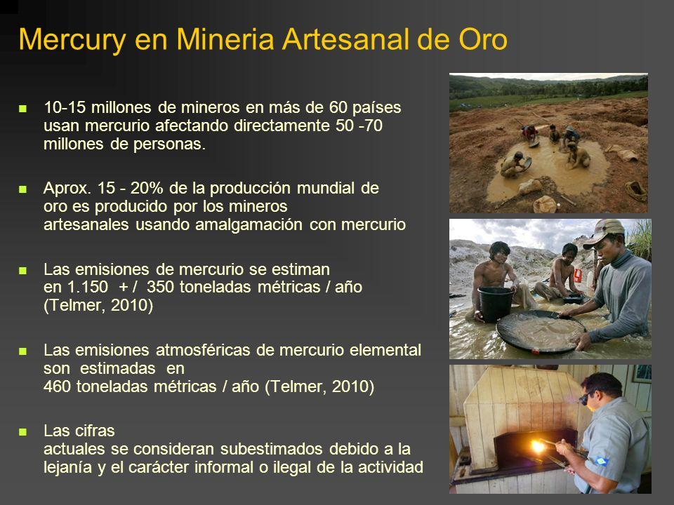 Mercury en Mineria Artesanal de Oro 10-15 millones de mineros en más de 60 países usan mercurio afectando directamente 50 -70 millones de personas. Ap