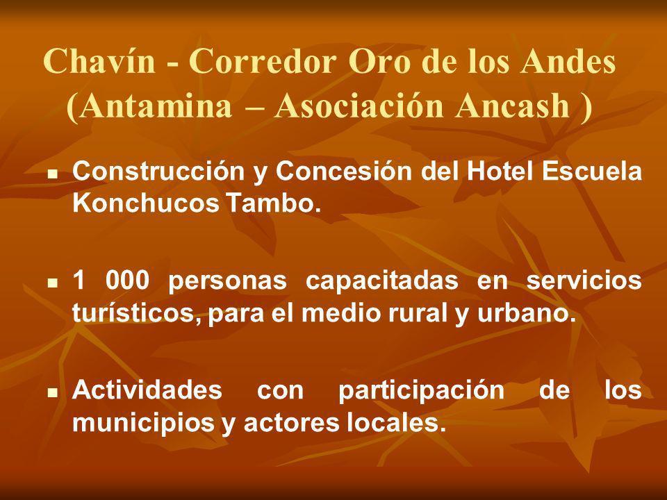 Chavín - Corredor Oro de los Andes (Antamina – Asociación Ancash ) Construcción y Concesión del Hotel Escuela Konchucos Tambo. 1 000 personas capacita