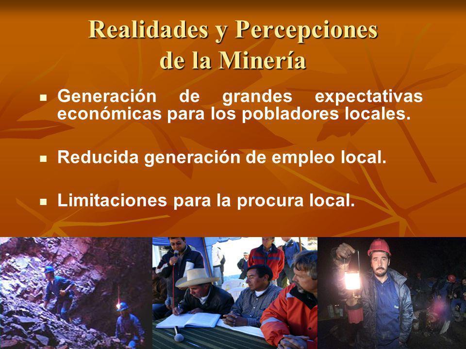 Realidades y Percepciones de la Minería Generación de grandes expectativas económicas para los pobladores locales. Reducida generación de empleo local