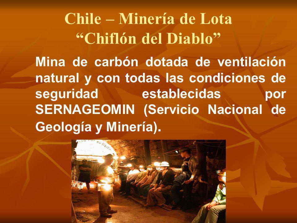 Chile – Minería de Lota Chiflón del Diablo Mina de carbón dotada de ventilación natural y con todas las condiciones de seguridad establecidas por SERN
