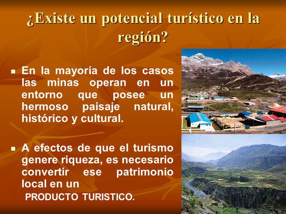 ¿Existe un potencial turístico en la región? En la mayoría de los casos las minas operan en un entorno que posee un hermoso paisaje natural, histórico