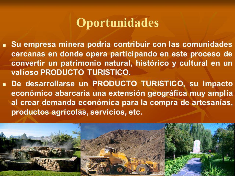 Oportunidades Su empresa minera podría contribuir con las comunidades cercanas en donde opera participando en este proceso de convertir un patrimonio