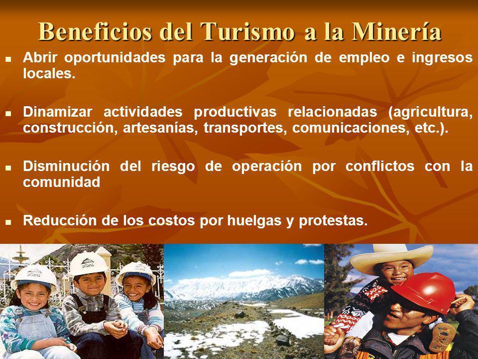 Beneficios del Turismo a la Minería Abrir oportunidades para la generación de empleo e ingresos locales. Dinamizar actividades productivas relacionada