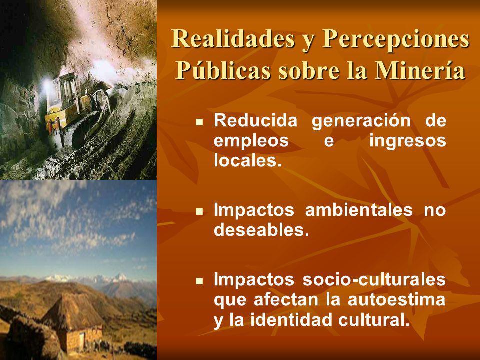 Realidades y Percepciones Públicas sobre la Minería Reducida generación de empleos e ingresos locales. Impactos ambientales no deseables. Impactos soc