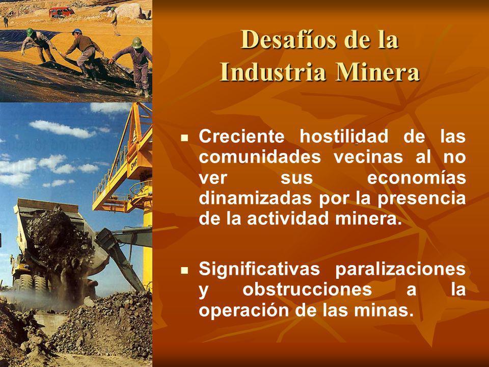 Desafíos de la Industria Minera Creciente hostilidad de las comunidades vecinas al no ver sus economías dinamizadas por la presencia de la actividad m