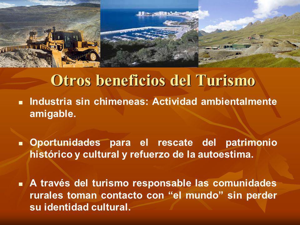 Otros beneficios del Turismo Industria sin chimeneas: Actividad ambientalmente amigable. Oportunidades para el rescate del patrimonio histórico y cult