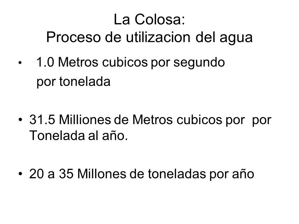 La Colosa: Proceso de utilizacion del agua 1.0 Metros cubicos por segundo por tonelada 31.5 Milliones de Metros cubicos por por Tonelada al año. 20 a