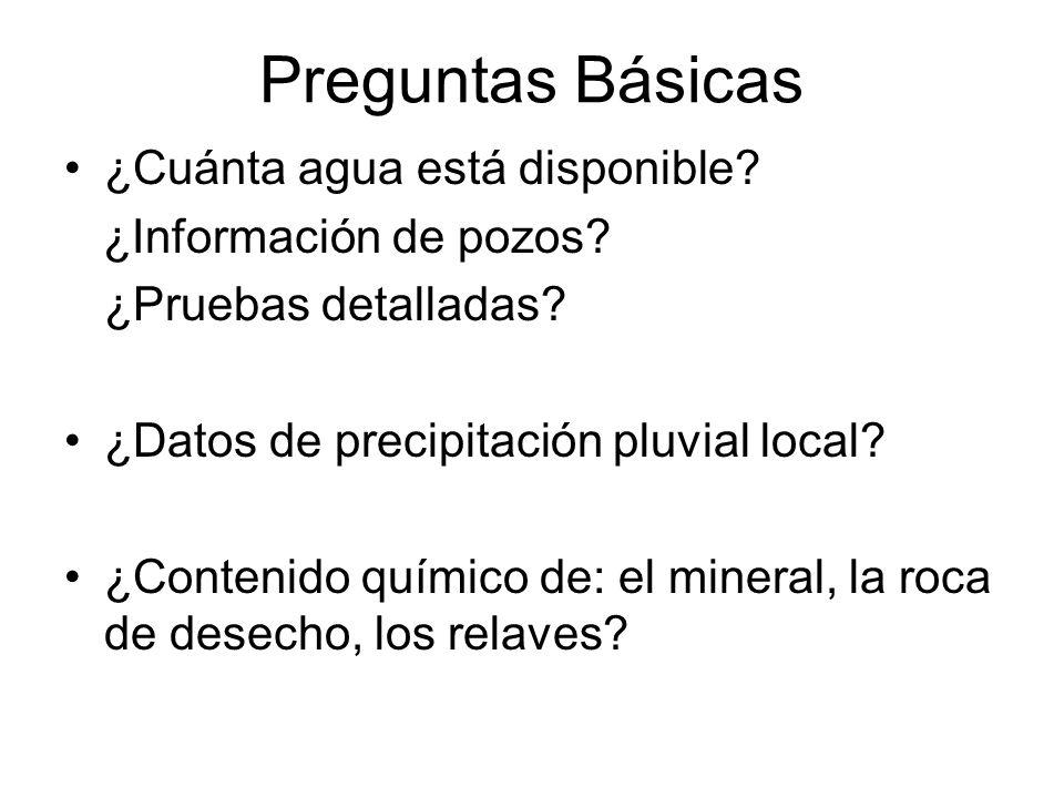 Preguntas Básicas ¿Cuánta agua está disponible? ¿Información de pozos? ¿Pruebas detalladas? ¿Datos de precipitación pluvial local? ¿Contenido químico