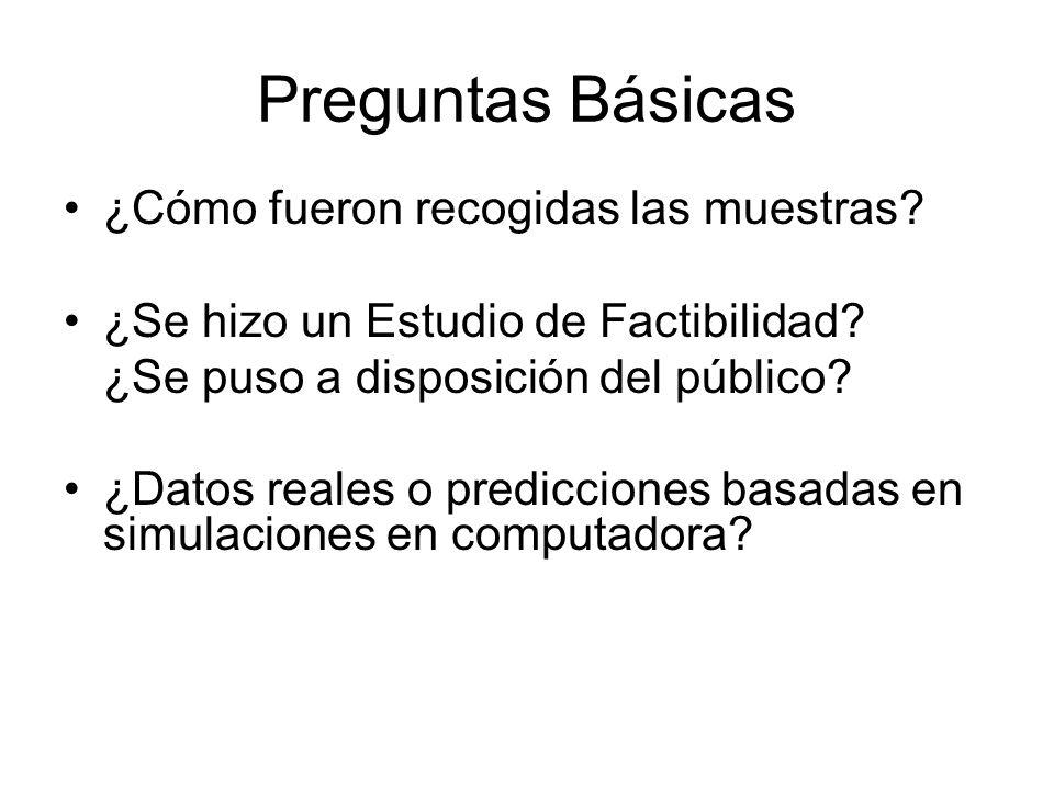 Preguntas Básicas ¿Cómo fueron recogidas las muestras? ¿Se hizo un Estudio de Factibilidad? ¿Se puso a disposición del público? ¿Datos reales o predic