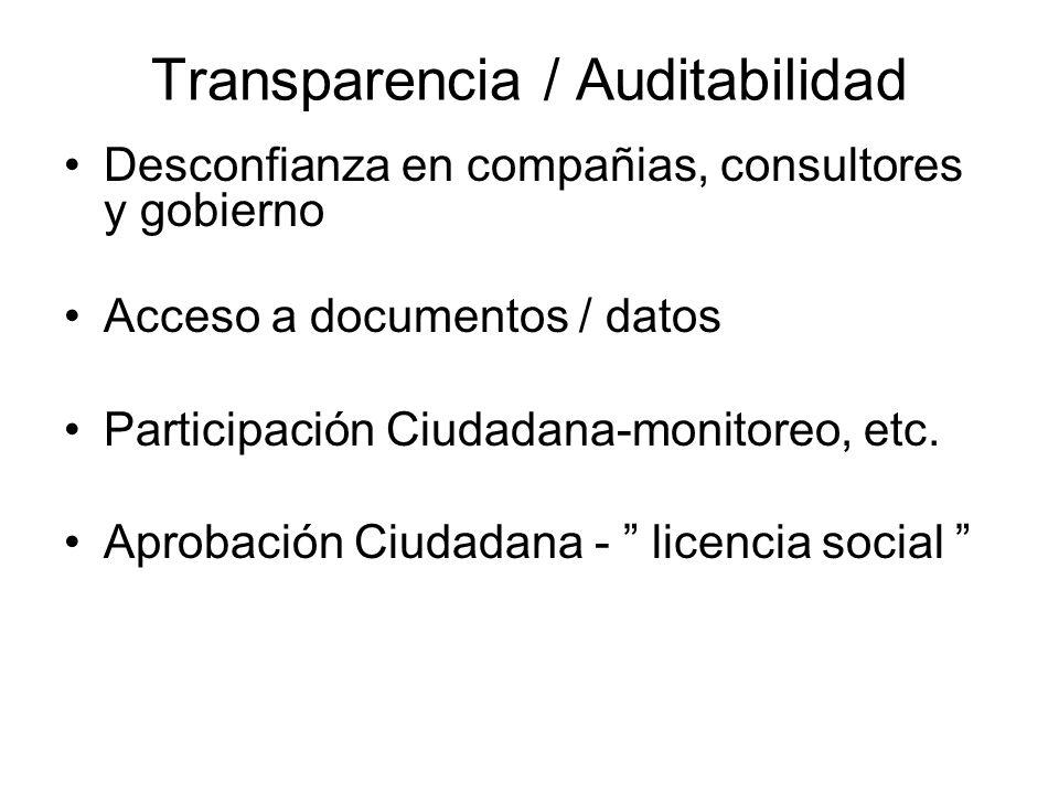 Transparencia / Auditabilidad Desconfianza en compañias, consultores y gobierno Acceso a documentos / datos Participación Ciudadana-monitoreo, etc. Ap