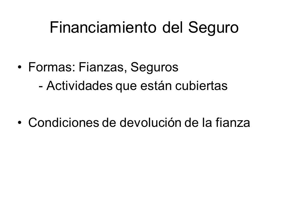 Financiamiento del Seguro Formas: Fianzas, Seguros - Actividades que están cubiertas Condiciones de devolución de la fianza