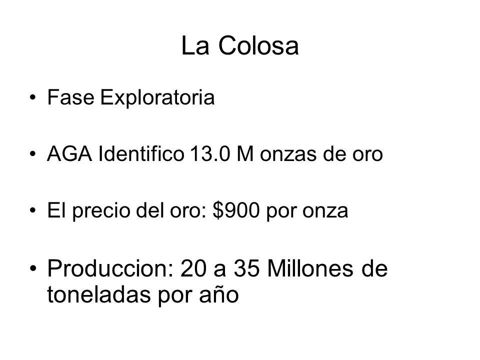 La Colosa Fase Exploratoria AGA Identifico 13.0 M onzas de oro El precio del oro: $900 por onza Produccion: 20 a 35 Millones de toneladas por año