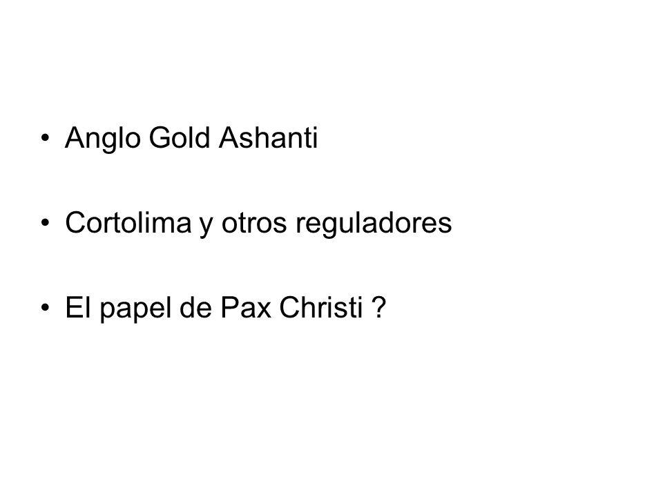 Anglo Gold Ashanti Cortolima y otros reguladores El papel de Pax Christi ?