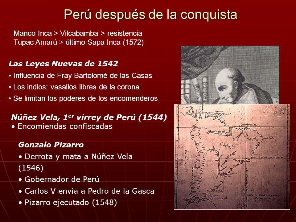 Perú después de la conquista Las Leyes Nuevas de 1542 Influencia de Fray Bartolomé de las Casas Los indios: vasallos libres de la corona Se limitan lo